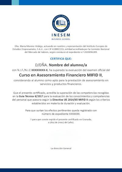 Certificación MIFID II