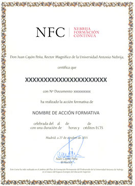 Certificado Universidad Antonio de Nebrija